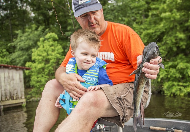 Kid and Dad fishing
