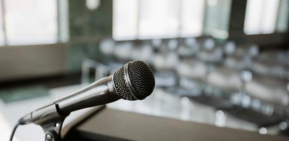 Mic, podium, speech, speaking, presentation, work, canva photo, can reuse