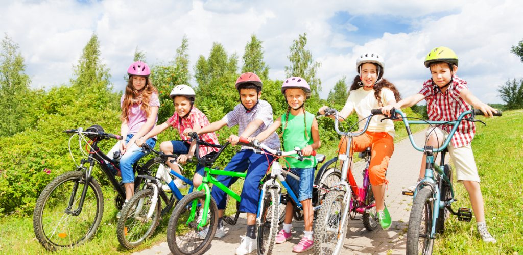 Children-kids-bike-outdoors-summer-spring-active-activity-play-canva photo-friends-can reuse